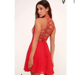 Lulus Red Good Deeds Strap Lace Back Skater Dress